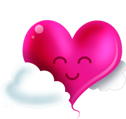 pink happy heart smiley emoticon